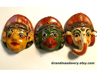 Vintage Asian Mask, Paper Mache Mask, Set of 3 Small Masks, Traditional Ceremonial Face Mask, Papier Mache Nepal