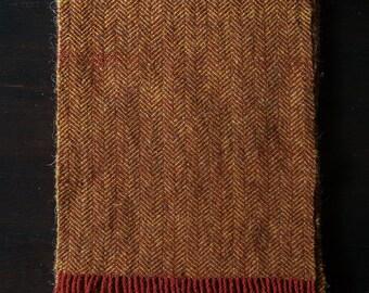Shetland Wool Herringbone Scarf - Rust & Ochre