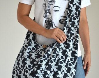 Black Lizard Hippie Bag Cotton Bag Crossbody Bag Hip Bag Tribal Bag Tote Bag Shoulder Bag Diaper Bag Boho Hobo Bag Messenger Bag Purse