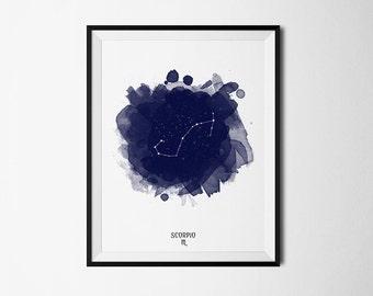 Scorpio Constellation, Scorpio zodiac, Zodiac Constellation, Stars constellation, Astronomy Watercolor, Printable poster, Digital print