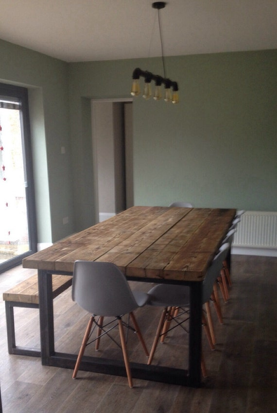 Industrial Chic 10 12 Seater Solid Wood And Metal Dining Table