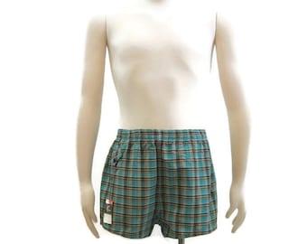 Vintage Mens Swim Trunks 50s Swimsuit Plaid Cotton Shorts NOS Dan River Turquoise S M