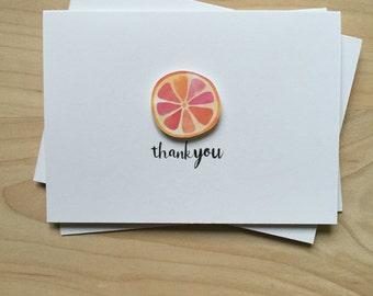 Grapefruit Thank You Card Set, Fruit Thank You Cards, Cute Thank You Card Set | Set of 8