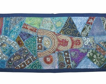 Indian Hand Made Traditional Wall hanging Patch Work Tapestry Tribal Folk Art Home Decor Ethnic Table Cover Runner Beaded , FREE SHIPPING.