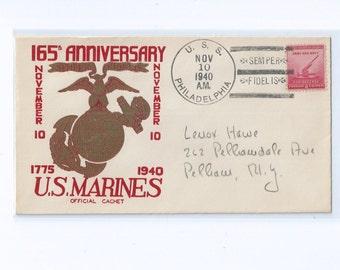 "165th Anniversary United States Marines Official Cachet, U.S.S. Philadelphia ""SEMPER FIDELIS""  November 10, 1940"