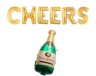 Cheers Letter Balloons, Champagne Bottle Balloons, Cheers Champagne Gold Letter Balloons, Gold Party Balloons, Gold Party Decorations