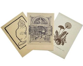 PICK 3 Vintage Bookplates - 3 Designs - Cat / Books / (**SOLD OUT**) Dandelion