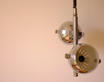 chrome suspension, hanging light fixture, lamp balls, metal lamp, fathers day gift