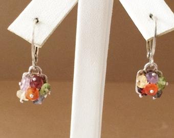 Sterling Silver Stone Cluster Earrings