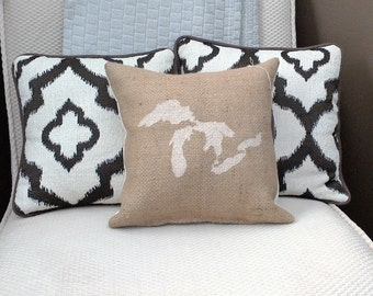 """Ivory Great Lakes 12"""" x 12"""" Burlap Pillow - repurposed coffee sack - jute couch cushion - Michigan - up north - cottage - vacation"""
