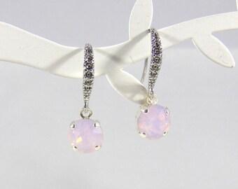 Earrings spring, Pastel pink earrings, pink, Rose Quartz earrings, Rose Water opal earrings, cubic zirconia earrings, Bridal, bridesmaid