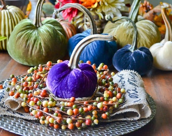 1 Small Purple Silk Velvet Pumpkin, Fall Decor, Table Centerpiece, Homemade Rustic Decoration