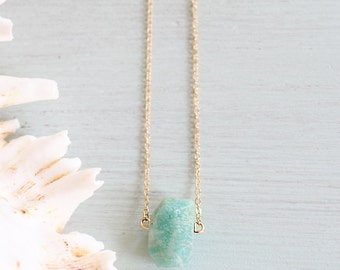 Amazonite Nugget Necklace - Natural Amazonite Necklace - Brazilian Amazon Necklace - Gemstone Necklace - March & April Birthstone Necklace