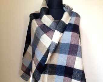 Pastel Tartan Plaid Blanket Scarf, Casual Fall Winter Scarf, Warm Fashion Scarf, Oversize Wrap, Fashion Trend Accessory, Trendy Gift for Her