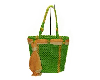 Green Macrame bag, handmade,tote,purse, handbag