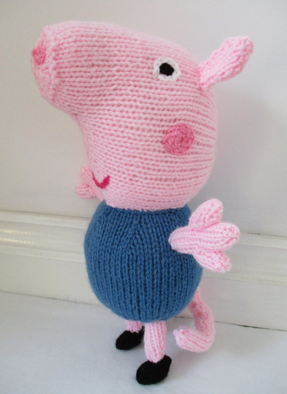 Knitting Patterns Peppa Pig Toys : George the Pig From Peppa Pig Hand Knitted Toy