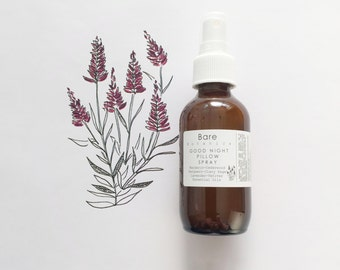 GOODNIGHT PILLOW SPRAY~Rest & Sleep Easy Naturally~6 Calming Essential Oils~Insomnia Help~Stress and Anxiety Reliever   Vegan  