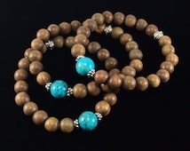 Sandalwood Prayer Mala/ natural/ green/ Sandalwood/ Turquoise/ gemstone/ yoga/ prayer/ mala/ Spiritual/ Jewelry
