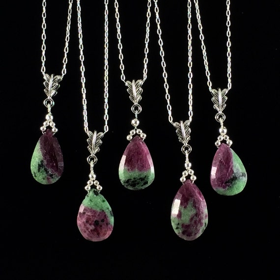ruby in zoisite pendant necklace green by