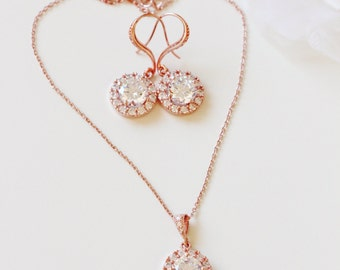 Rose Gold Bridal Jewelry Set Bridesmaid Gift Set Rose Gold Wedding Jewelry Set Round Rose Gold Earrings and Necklace Set Bridal Party Gift
