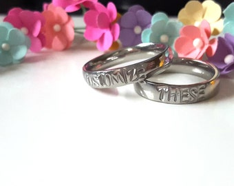 Stamped Ring Set, Couple Rings, Personalized Ring, Customizable Ring, Set of TWO, Best Friend Rings, Christmas Gift for Girlfriend, Rings