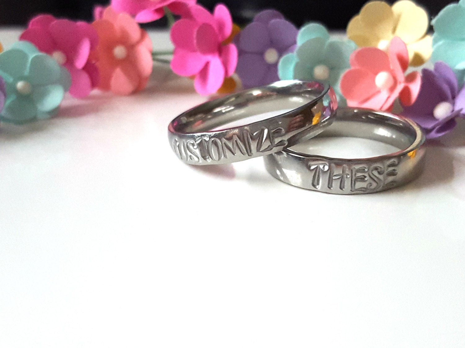 Couple Rings Set of Two Personalizable Rings Stamped Rings