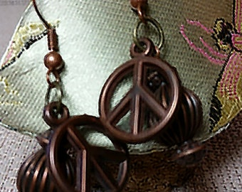 Peace Sign Hippie Earrings in Cooper Bronze Color Bronze Hoops Pendant Fashion Accessory
