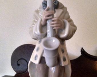 lladro 1988 sad saxaphone clown figurine 5471