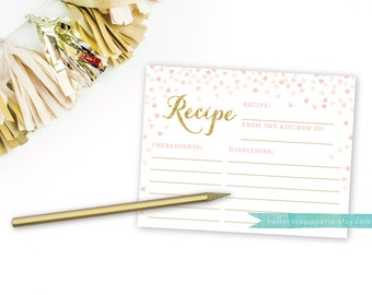 Pink and Gold Recipe Cards for Bridal Shower . 4x6 Recipe Cards Printable . Instant Download . Gold Glitter . Blush Pink Hearts