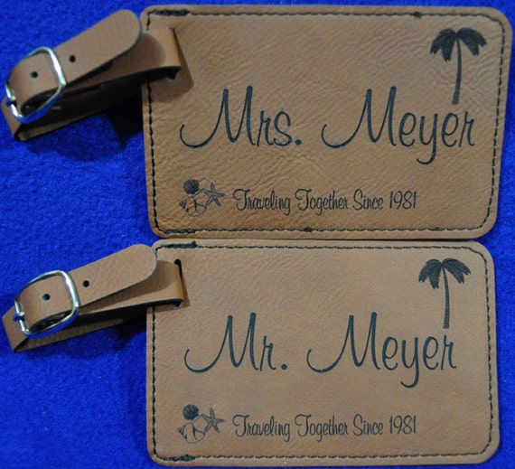 Wedding Gift Luggage Tags : Wedding Gift ~ Luggage Tag ~ Bridal Party Gift ~ Leather Tag ~ Bride ...
