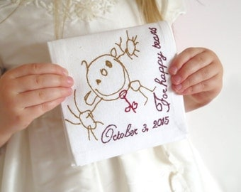 Wedding handkerchief for dad - Father of the bride gift ideas - Your artwork embroidered - Personalised handkerchief - Wedding hankie