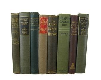 Green Brown Antique Books , Vintage  Book Bundle ,  Decorative Books , Wedding Prop , Photo Prop ,  Vintage Books , Old Books