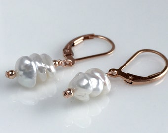 Rose Gold Pearl Earrings, Rose Gold Keishi Pearl Earrings, Real Pearl Earrings, Gift for Her, Rose Gold Leverback Earrings