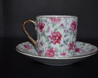 Inarco Japan Porcelain Demitasse Cup and Saucer Floral Decor Pink Rose Chintz