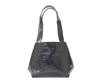 black leather purse - black leather tote bag - large black tote bag - black tote purse - black leather bag - CLLSB