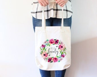 Hello Lovely Tote Bag Pink Floral Tote bag Floral Tote Bag Floral Tote White Floral Bag White Tote Bag White Canvas Bag Gift for her