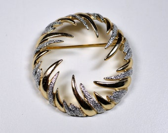 Vintage Sara Coventry Circle Swirl Pin Brooch Gold Tone Round Swirl Pin Statement Pin Sara Coventry Brooch Statement Brooch