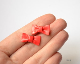 Red Bow Studs, Polymer Clay Bow Stud Earrings, Red Bow Earrings, Bow Post Earrings, Red Bow Jewelry, Mini Bows, Red Bows, Cute Bow Studs