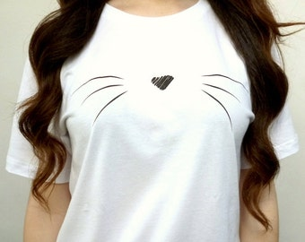 Cute Cat Whiskers Shirt - Cat T-Shirt - Cat Shirt - Cute Cat Shirt - Tumblr Shirt - Tumblr Clothing - T Shirt - T Shirts Women