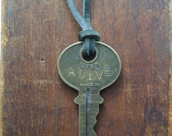 Personalized Vintage Engraved Key Necklace