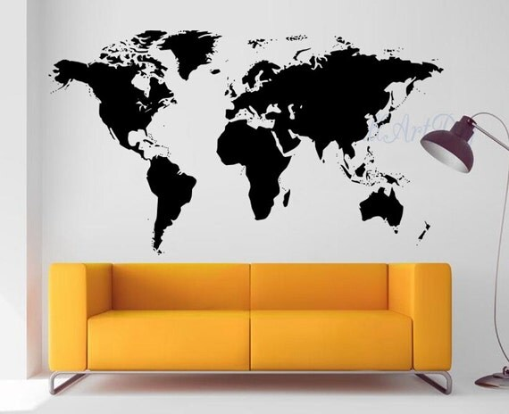 vinyle monde carte murale sticker blanc carte murale. Black Bedroom Furniture Sets. Home Design Ideas