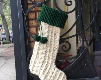 Crochet White and Green Extra Large Oversize Christmas Stocking