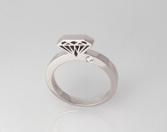 White gold Diamond ring, 14K solid gold diamond shaped ring with diamond, diamond silhouette ring