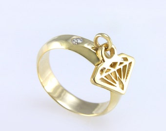 Gold Dangle Ring, Diamond dangle Ring, Gold dangle charm Ring, Diamond shape ring, Hanging diamond ring, Gold diamond ring