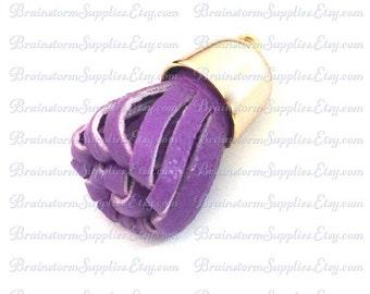 Key Chain Tassel - Tassels - Decorative Tassels - 6 Purple Tassels with Pale Gold Caps - Tassels for Jewelry -  Purse Tassel - TD-2G12