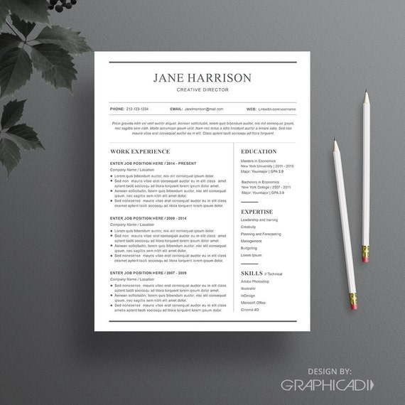 Simple Resume Template Word: Simple Resume Template And Cover Letter Word By Graphicadi