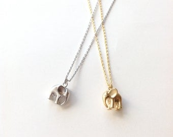 Elephant Pendant Necklace, Dainty Gold or Silver Elephant Necklace for Teen, Small Necklace Gift, Good Luck Elephant Jewelry, Charm Necklace