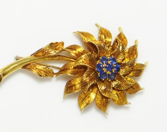 Art Deco Sapphire Brooch 18k Gold Italian Floral Pin - September Birthstone  - Tiffany & Co. Inpired Trombone Clasp