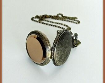 Vintage antique bronze watch, Crystal watch necklace, Pocket watch necklace, Clock necklace, Victorian pocket watch