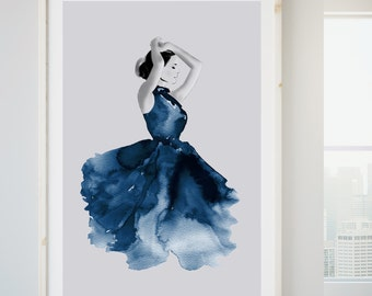 Gift For Her, Large Watercolour Fashion Illustration Print, Female Watercolour Print, Bedroom Wall Art, Indigo Blue Art Large Wall Art